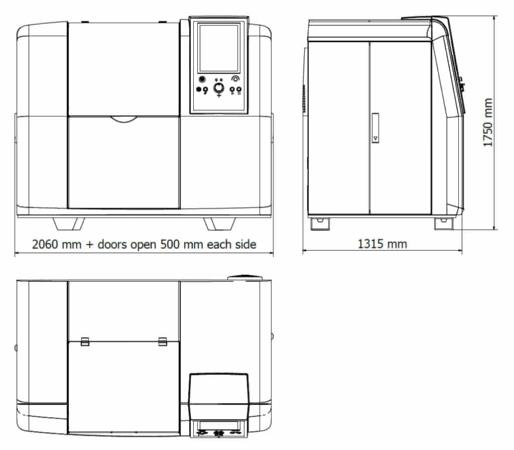 The Finecut WMC500II dimensions