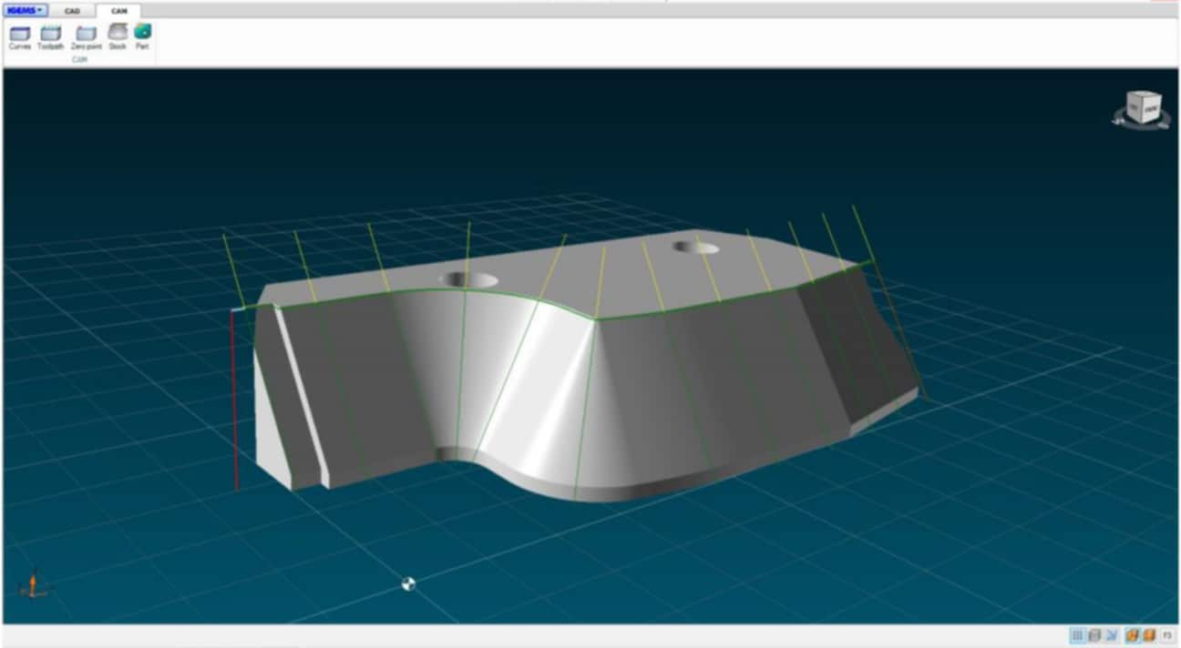 The Finecut WMC500II is using the IGEMS 5-axis CAD/CAM for manufacturing preparation.